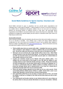 Social Media Guidelines for Sports Coaches, Volunteers and Athletes