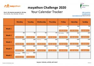 Download the Printable mayathon Challenge Calendar