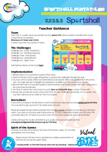 Sportshall Teacher Guidance Virtual School Games